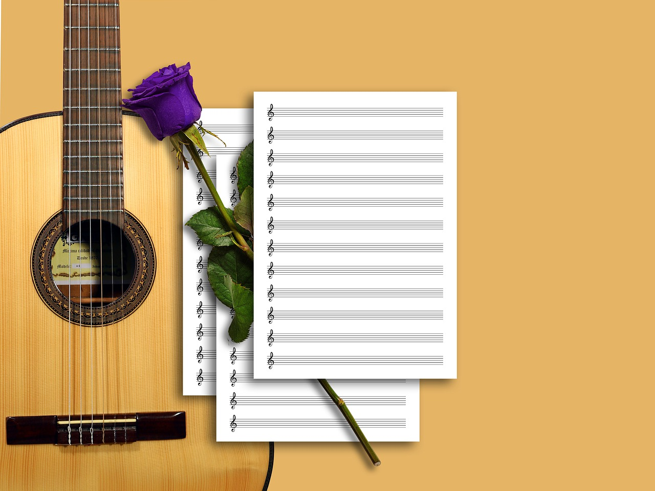 guitar, sheet music, music